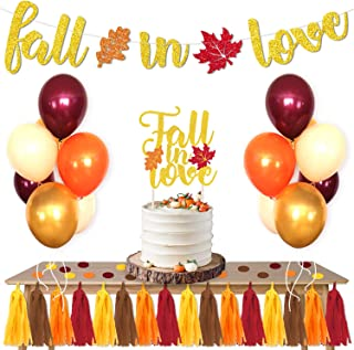 Fall In Love Party Favors Supplies Set Maple Leaves Banner Cake Topper Balloons Tissue Paper Tassels Garland Confetti Bridal Shower Engagement Wedding Party Photo Props Ideas Decoration