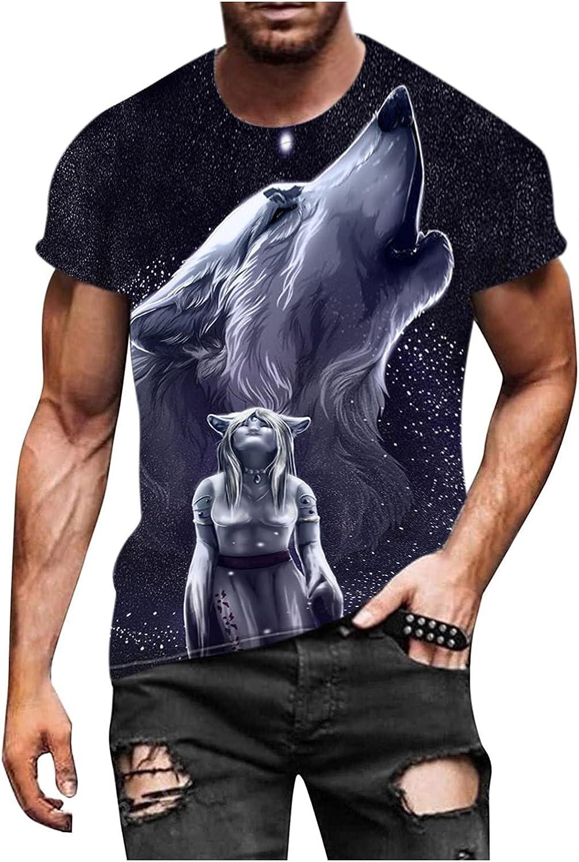 Bravetoshop Men's Fashion 3D Wolfs Mens Virginia Beach Mall Print Novelty Limited time trial price Shirt Grap