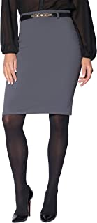 Krisp Womens Stretch Formal Belted Bodycon Midi Pencil Office Skirt