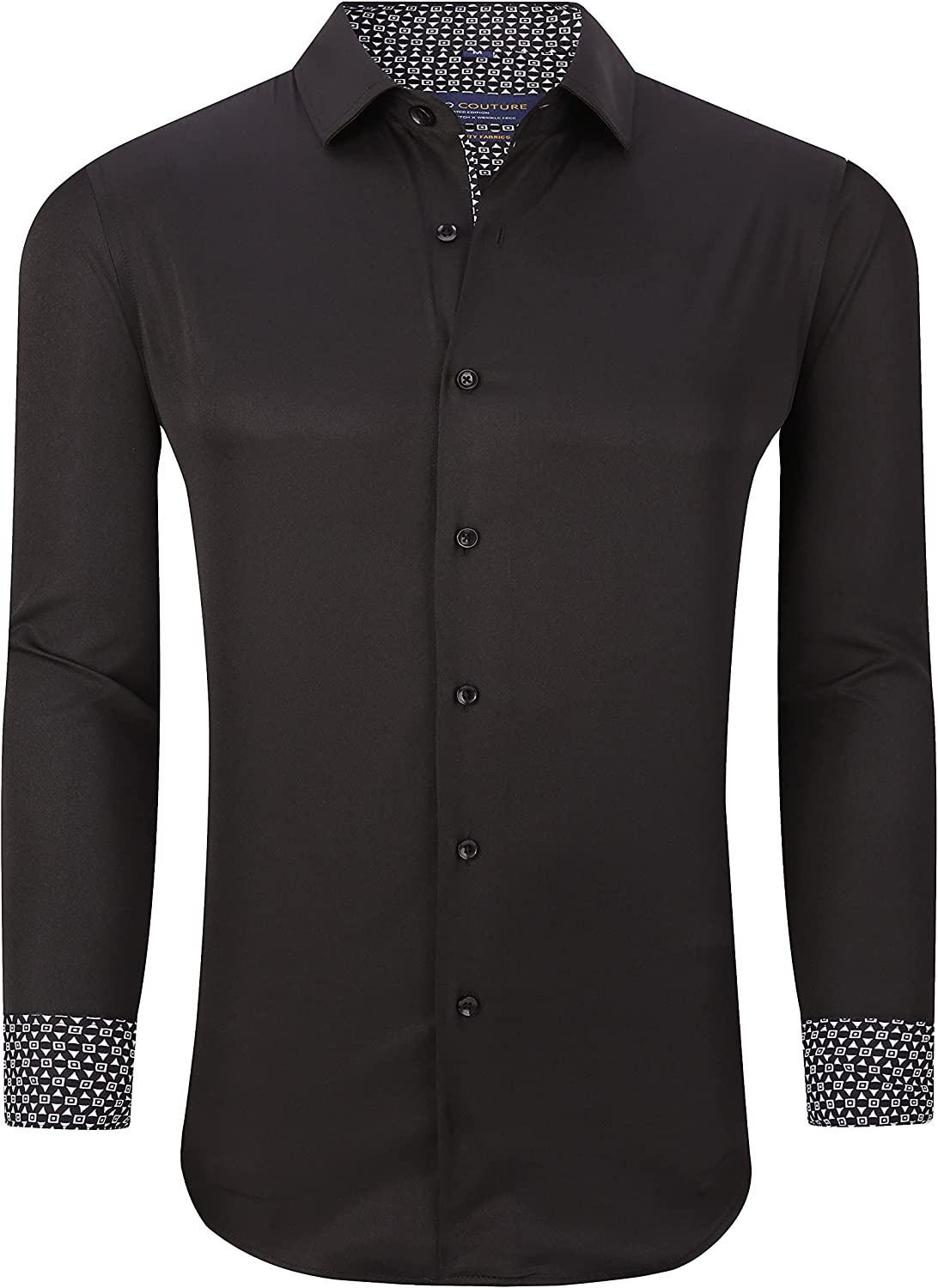 Suslo Couture Men's Wrinkle Free Perfomrace Stretch Solid Button Down