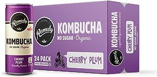 Remedy Raw Organic Kombucha - Sparkling Live Cultured Drink - Sugar Free Cherry Plum - 8.5 Fl Oz Can, 24-Pack