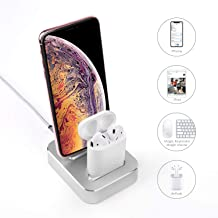 2-in-1 Charging Stand Compatible with iPhone 11/XS/8/8Plus/7/iPad/Airpods1/2/Airpods pro, Aluminum Alloy Built-in USB Cell Phone Charging Stations, Dual Charger Station, Mobile Phone Holder (Silver)