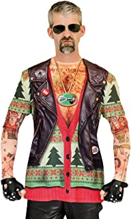 Faux Real Men's Biker Ugly X-Mas Sweater with Tattoos T-Shirt and Long-Sleeves