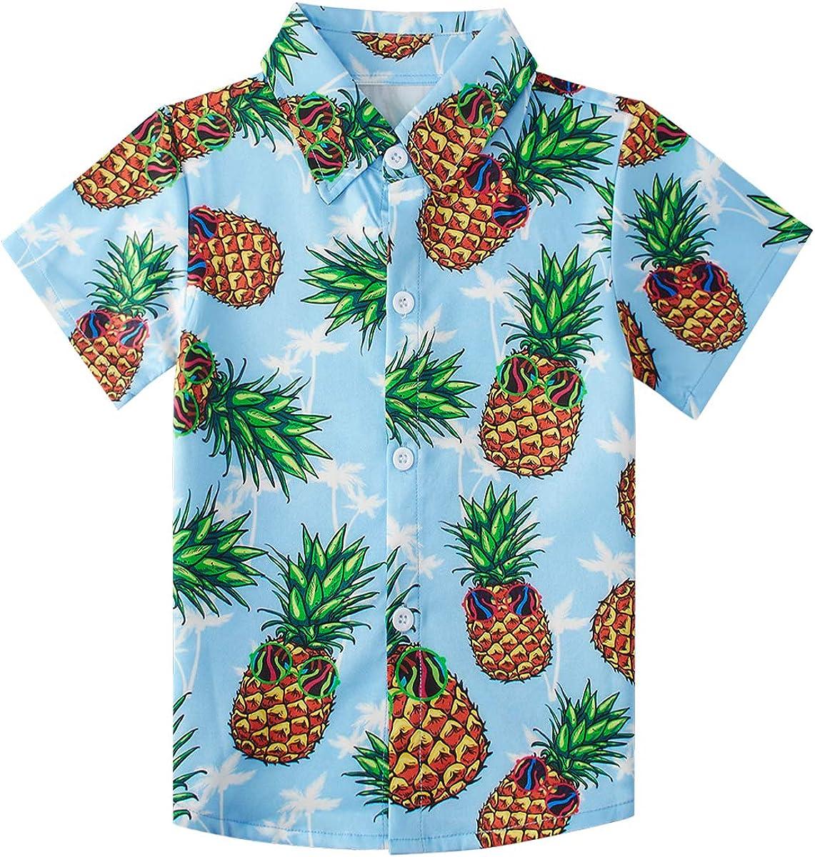 uideazone Boys Hawaiian Shirts Novelty Printed Funky Short Sleeve Button Down Shirt Kids Aloha Luau Shirt 7-14T