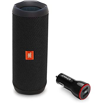 JBL Flip 4 Portable Bluetooth Wireless Speaker Bundle with Anker PowerDrive 2 2-Port USB Car Charger - Black