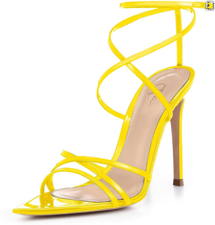 Cdvintu Women Ankle Strap Stilettos High Heels Criss Cross Sandals Open Toe Bridal Wedding Evening Dress Casual Party shoes