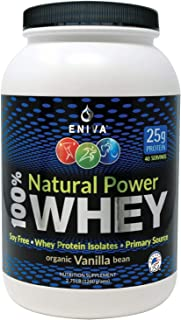 ENIVA Natural Power 100% Whey Protein Powder, Organic Vanilla, Clean Protein for Everyone & Keto, High Protein, Low Carb, ...