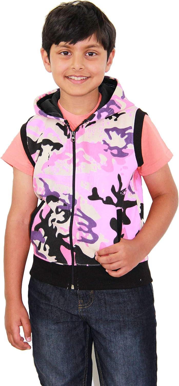 Kids Girls Boys Plain Gilet Fleece Hoodie Zipper Sleeveless Jacket 2-13 Years