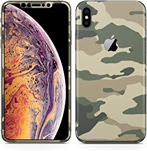 igsticker iPhone Xs Max Skin Sticker Full Body Coverage Vinyl Decal - Dustproof Anti-Scratch for Apple iphonexs max xsmaxfull-008444-ds Green Green Camouflage Pattern