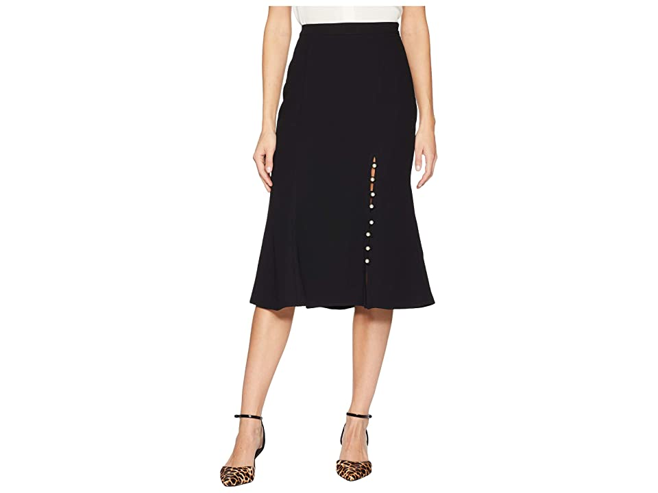 J.O.A. Midi Skirt with Pearls (Black) Women
