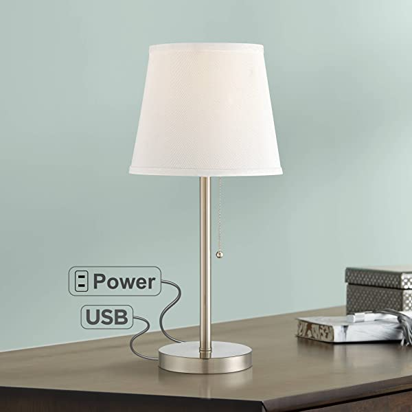 Flesner Modern Accent Table Lamp With Hotel Style USB And AC Power Outlet In Base Brushed Steel White Empire Shade For Living Room Family 360 Lighting