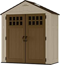 Suncast 6 ' x 3' Vertical Storage Shed - Outdoor Storage for Backyard Tools and Accessories - All-Weather Resin Material, Transom Windows and Shingle Style Roof - Wood Grain Texture