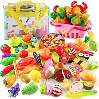 Button Moon おままごとセット 60PCS キッチンおもちゃ バスケット付き 知育玩具 子供 果物 野菜 DIY寿司 海鮮 ままごと用調理器具 親子遊び おもちゃ プレゼント 男の子 女の子 ごっこ遊び