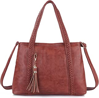 IYAFFA Leather Tote Bag for Women, Shoulder Handbag Compatible with Tassel Crossbody Purse Soft and Large Capacity Brown
