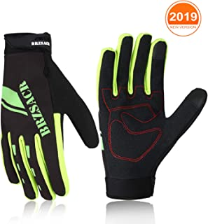 BRZSACR Cycling Bike Bicycle Motorcycle Gym Gloves Men Full Finger with Screen Compatible, Shockproof Foam Padded Riding Biking Glove Outdoor Sports Waterproof and Breathable MTB Glove