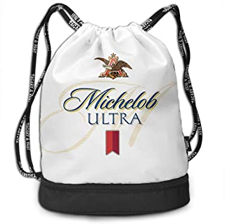 Michelob Ultra Light Drawstring Backpack Foldable Gym Tote Dance Bag for Swimming Shopping Sports Women Men Boys Girls