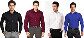 Super weston Plain Black White Mehroon and Navy Casual Shirts for Men's for Summers Combo of 4