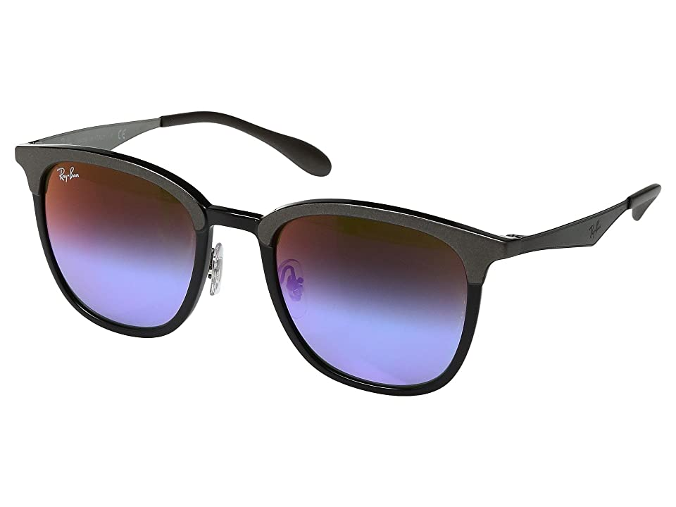 Ray-Ban 0RB4278 51mm (Grey/Shiny Black/Green Mirror Blue Gradient Violet Lens) Fashion Sunglasses