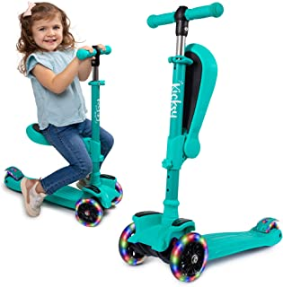 KicksyWheels Scooters for Kids with Seat Folding and Removable – 3 Wheel Toddler..