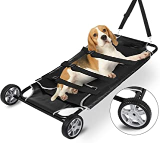 Happybuy Animal Stretcher Black Pet Stretcher 48x26 Inch Animal Stretcher Pet Trolley with Wheels Max 250lbs Capacity