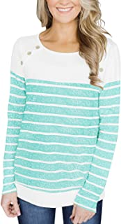 YunJey Womens Short Sleeve and Long Sleeve Striped Tops Button Decor Blouses Casual T Shirts