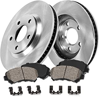 [ Base V6 S197 ] FRONT 293 mm Premium OE 5 Lug [2] Brake Disc Rotors + [4] Ceramic Brake Pads + Clips CRK12522