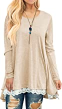 QIXING Women's Lace Long Sleeve and Short Sleeve Tunic Top Blouse