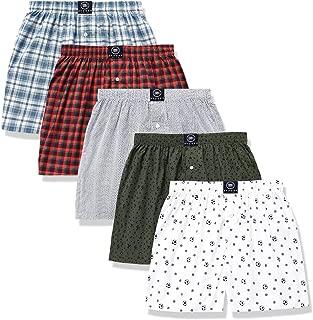 Men's 5 - Pack 100% Cotton Print and Plaid Multicolor Boxer Shorts
