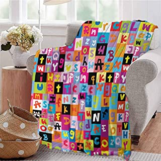 Travel Throw Blanket Colored Alphabet Letters Pattern Education School Puzzle Children Graphic Print Multicolor Livingroom Couch Bed Camping Picnic W59 xL71