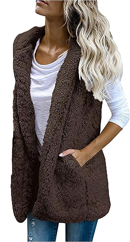 Womens Cardigan Sleeveless Open Front Hooded Coat Casual Fleece Vest Jacket Warm Shaggy Waistcoat Outerwear with Pocket
