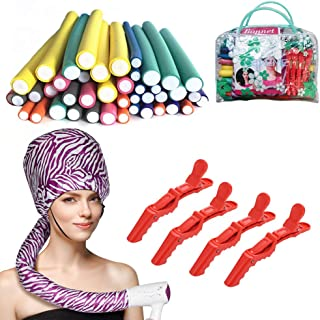(3 in 1) 42pcs Foam Flexible Curling Rods Hair Curler Rollers + Hair Dryer Hood Bonnet Attachment Cap + 4pcs Hair Clips, N...