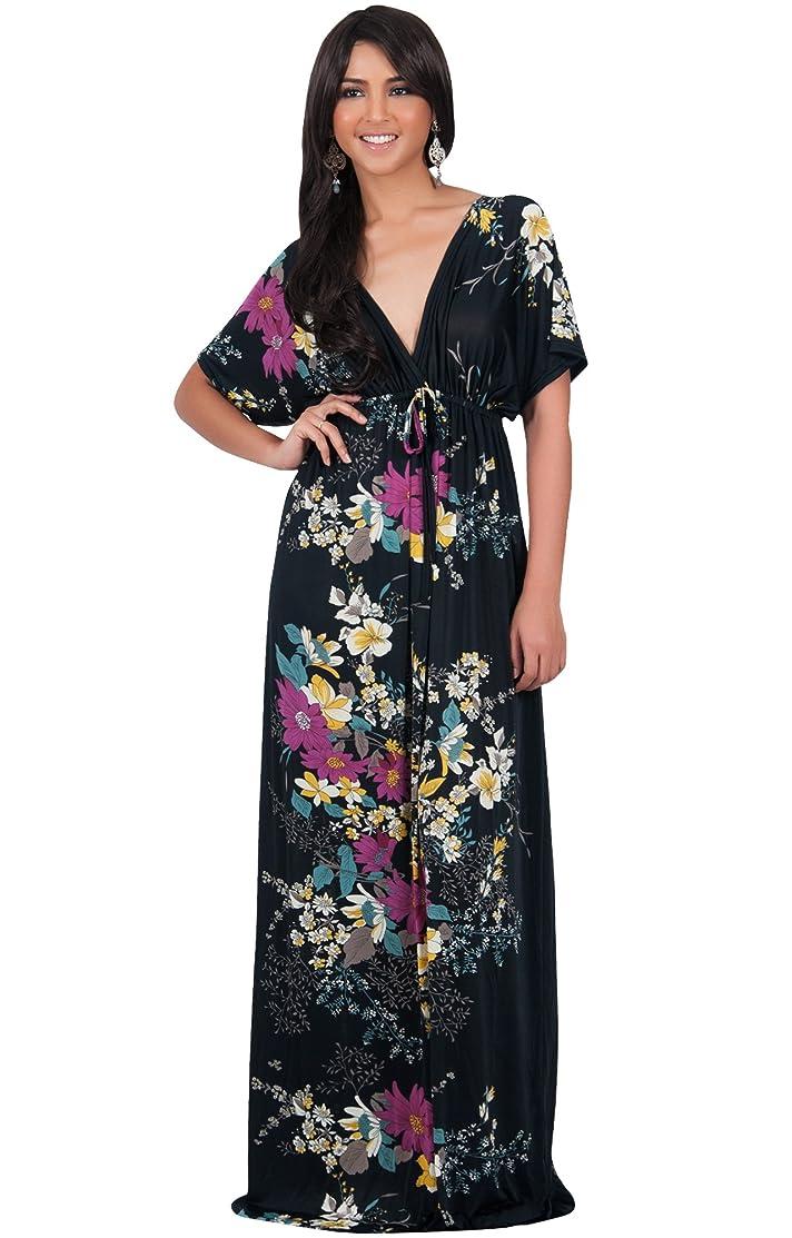 KOH KOH Womens Long Summer Floral Evening Sexy Kaftan Evening Gown Maxi Dress