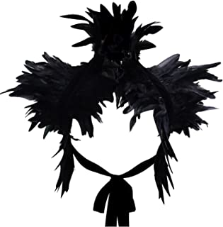 Gothic Natural Feather Shrug Shoulder Strap Ring Halloween Party Scarf