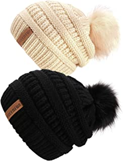 QUEENFUR Women Knit Slouchy Beanie Chunky Baggy Hat with Faux Fur Pompom Winter Soft Warm Ski Cap