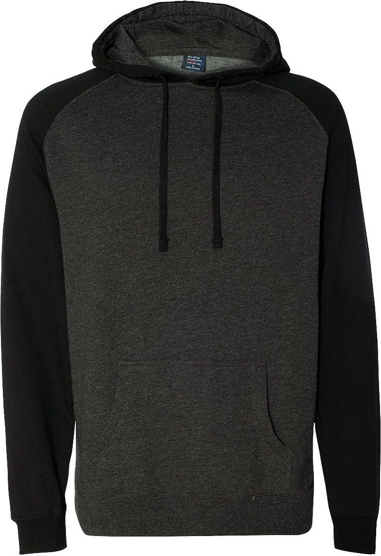 Independent Trading Co Raglan Hooded Sweatshirt. IND40RP - Large - Charcoal Heather / Black