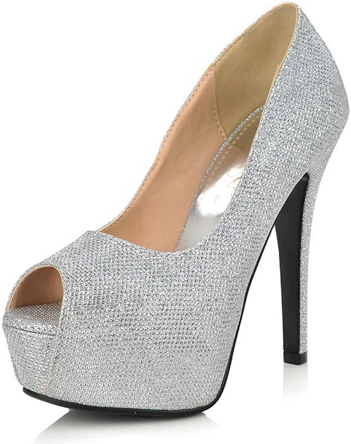 WeiPoot Women Peep Toe High Heel Spikes Stilettos Sequins Soft Material Solid Sandals with Platform, Silver, 7.5 B(M) US