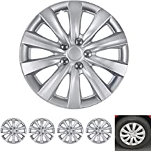 """BDK Wheel Guards – (4 Pack) Hubcaps for Car Accessories Wheel Covers Snap Clip-On Auto Tire Rim Replacement for 16 inch Wheels 16"""" Hub Caps (Thin Spokes)"""