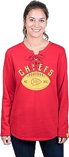 Icer Brands NFL Kansas City Chiefs Women's Fleece Sweatshirt Lace Long Sleeve Shirt, X-Large, Red