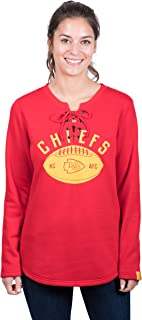 Icer Brands NFL Kansas City Chiefs Women's Fleece Sweatshirt Lace Long Sleeve Shirt, Large, Red