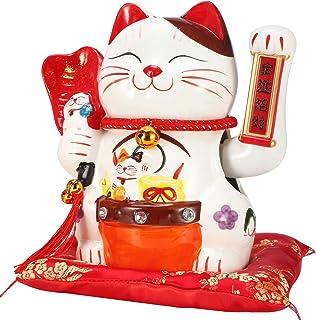 EnergyPower 電動 招き猫 座布団付 まねき猫 陶器製 手描き ハンドメイド かわいく手招きします 乾電池式 開店祝いや開業祝いに喜ばれます 自動で腕を振ります ラッキーアイテム 運気向上 金運アップ 商売繁盛 開運 招福 風水 厄除...