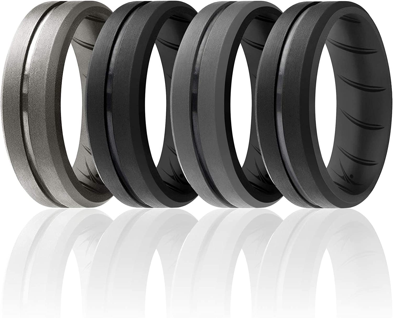 ROQ Silicone Rings for Men 1//2//3//4//6 Multipack of Breathable Mens Silicone Rubber Wedding Rings Bands Duo Collection