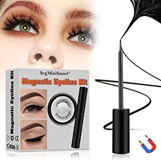 Magnetic Eyeliner, Magnetic Eyeliner with Magnetic Eyelashes, Waterproof Black Smooth Liquid Eyeliner and 3D Reusable 5 Magnets False Lashes for Party Dating Wedding, Natural Look and Long Lasting