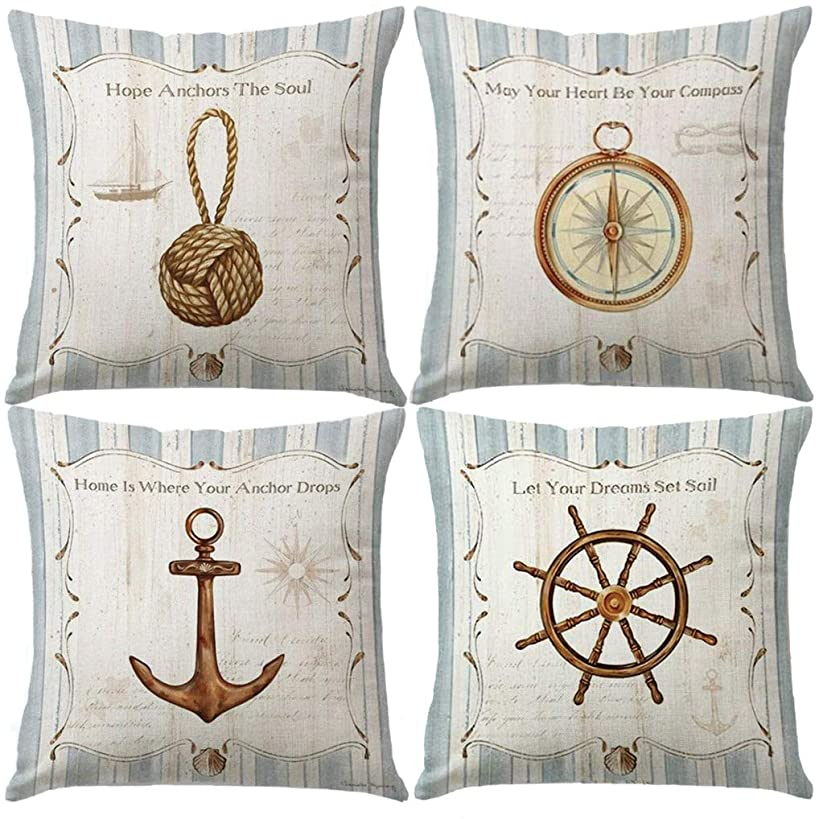 """7ColorRoom Vintage Navigation&Beach Style Pillow Cover Sea Theme&Beach with Anchor&Compass Cushion Cover Set of 4 Nautical & Coastal Decorative Square Cotton Linen Pillowcases 18""""×18"""" (Sea Style)"""