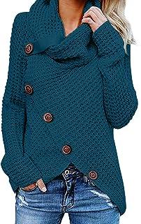 Asvivid Women's Chunky Turtle Cowl Neck Asymmetric Hem...