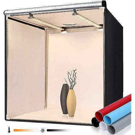 2021 撮影ボックス FOSITAN 60cm 色温度調光可能 3200-5500K 5*背景布 調光器付き 252PCS 高輝度ライト付き プロな撮影キット 折り畳み式 収納便利 大容量