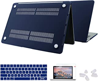 Utryit MacBook Air 13 Inch Case 2018 Release A1932 with Touch ID Retina Display Bundle, Smooth Plastic Hard Shell, Privacy Webcam Cover Slide, Screen Protector and Keyboard Cover Set (Royal Blue) …