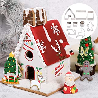 3D Gingerbread House Cookie Cutter Set - 9 PCS DIY Stainless Steel Christmas Cookie Mould | Gingerbread Boy/Elk/Sled/Christmas House Cookie Making For Christmas Decoration