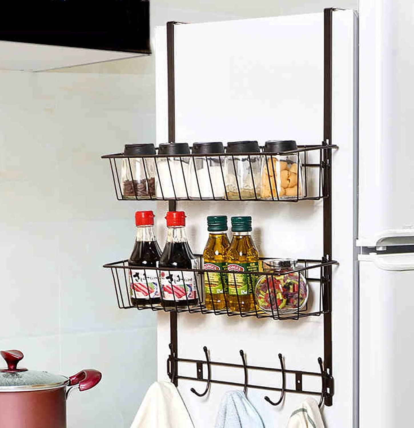 Japanese-Style Simplicity Iron Refrigerator Side Pylons,Refrigerator Rack Side Wall Mount, Kitchen Storage Shelf,Bathroom Shelf,Suitable for Bathroom, Living Room, Kitchen. (color   A)