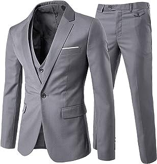 7afeae0f90 Costume Homme Un Bouton Mode Slim fit Trois Pièces Elégant Business Mariage
