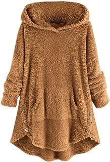 iLOOSKR Winter Warm Hoodie Plus Size Women Solid Velvet Button Down Asymmetrical Top Sweater Blouse